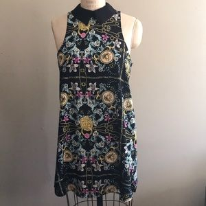 Nasty Gal M Sleeveless Patterned Shift Dress Black